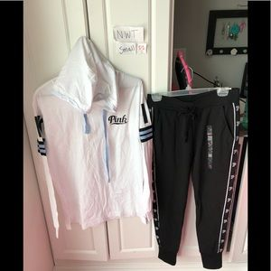 NWT Victoria Secret pink small logo shirt & sweats